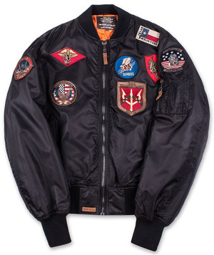 Бомбер Top Gun MA-1 Nylon Bomber Jacket with Patches (чорний)